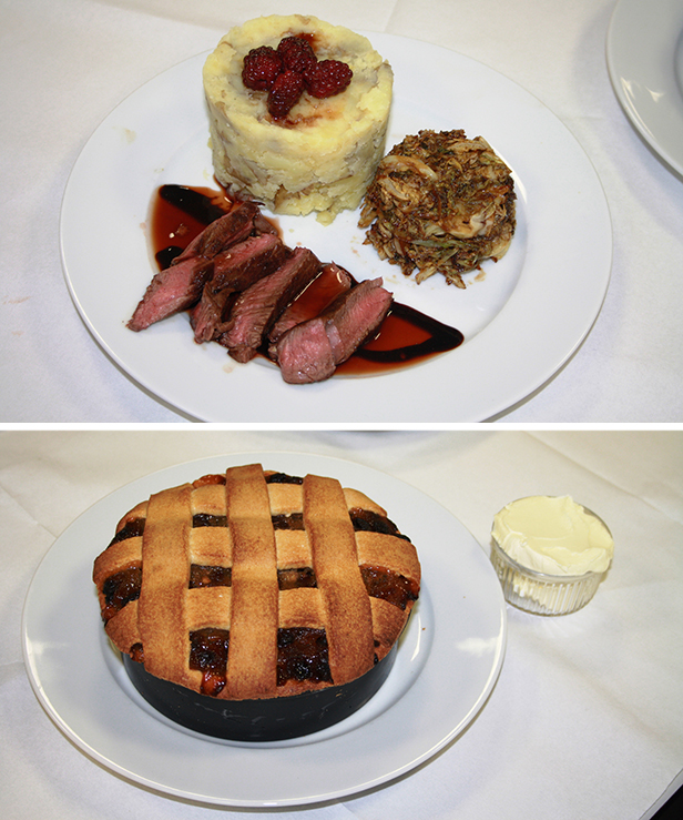Pan fried venison and apple pie