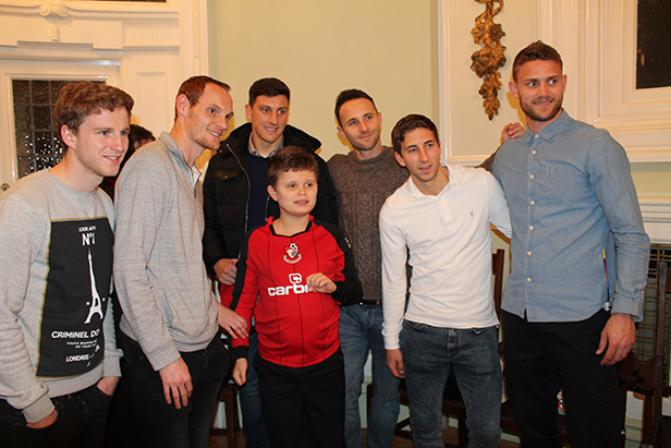 AFC Bournemouth footballers Eunan O'Kane, Shaun MacDonald, Tommy Elphick, Marc Pugh, Wes Fogden and Simon Francis helped Wave 105 Cash for Kids by delivering gifts to disadvantaged children