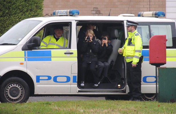 Chris Durham, deputy Community Speed Watch Co-ordinator, with students and Police Community Support Officer Mike Sinnick