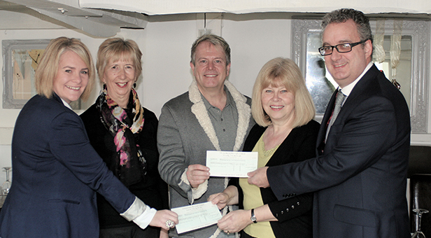 (from left) Vicki Hallam, Chairman of the Festival, Mary Reader, President of the Festival, Gary Payne, Manager of The Lord Bute, Julie Ratcliffe, Chairman of Christchurch Food Festival Education Trust and Neal Williams, Trust Secretary of Macmillan Caring Locally.