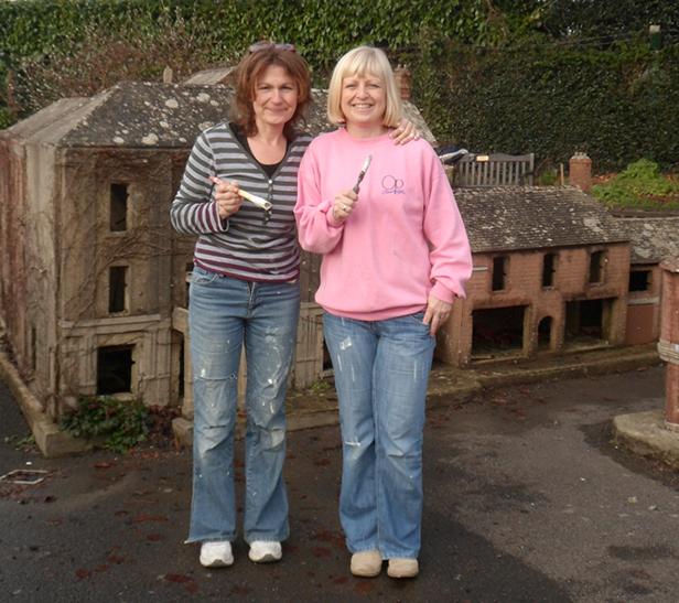 Waitrose volunteers Steph Roberts (left) Debbie Morley (right) in the Model Town Square