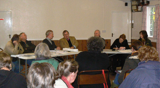 > PHOTO:  Bob and local councillors talk to Stourpaine residents - front facing, left to right: Parish Councillors Keith Yarwood, David Williams and Scott Norman; Bob Walter MP, Stourpaine Flood Warden Lyle Adlem, NDDC Cllr Sherry Jesperson, NDDC Leader and Dorset County Councillor Deborah Croney