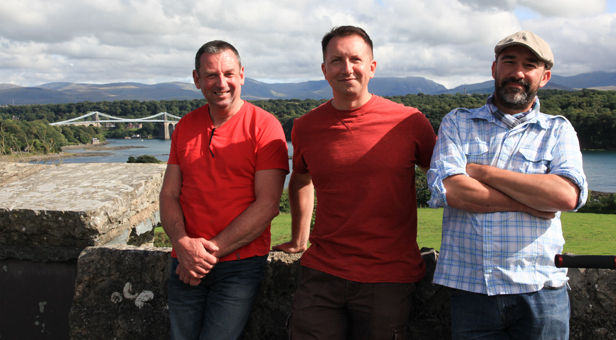 L-R, David Bailey, Rhys Jones and series director/producer Ian Durham on location at the Menai Straits