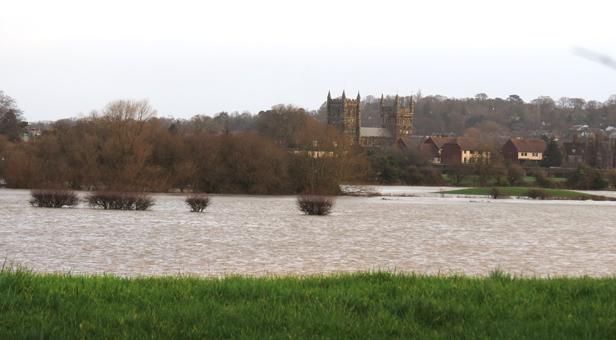 Water rises at Wimborne Minster