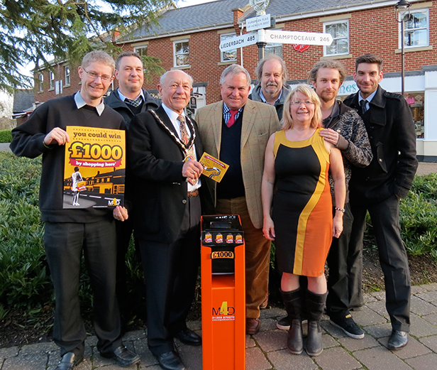 l-r Ben Pulford, Director of mags4dorset; Steve Upton, Baileys (participating trader), The Mayor of Verwood Cllr Peter Richardson, Bob Walter MP, Nick, Janine and Louis Pulford, Mark Beechey (mags4dorset)
