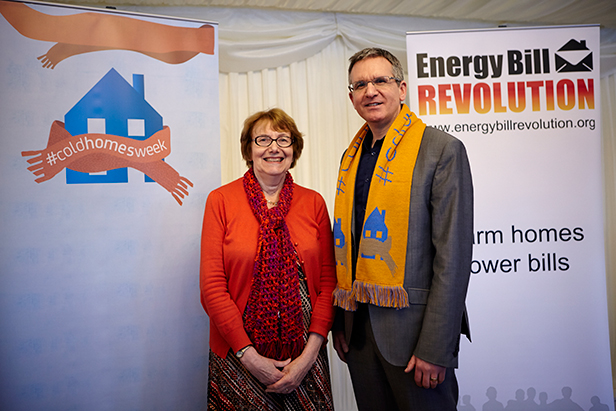 Annette receiving her scarf from Ed Matthew in Parliament this week