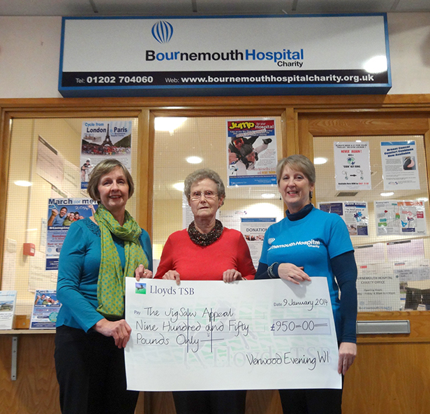 Vanessa Curtis and Jan Parish of Verwood WI with Andrea Piedot from Bournemouth Hospital Charity