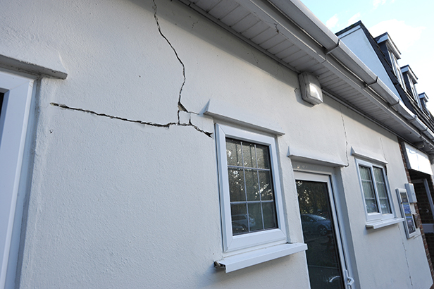 Cracked wall at Parley Sports Club