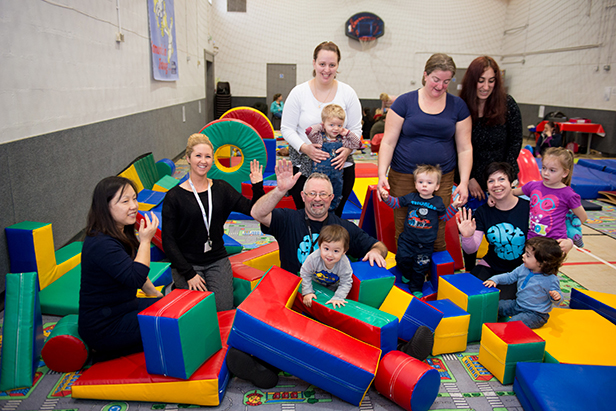 John Hanrahan, Lisa Guy, Kelly Hunter with a group of mums and young children at the new soft play group on Thursday mornings at the Heatherlands Centre