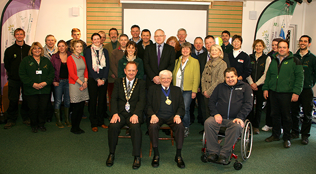 The Chairman of East Dorset Council Cllr Malcolm Birr (front centre left) and the Mayor of Christchurch Cllr John Lofts (front centre right) with other guests and members of the Activate Coast & Countryside team at the project launch at Moors Valley Country Park and Forest