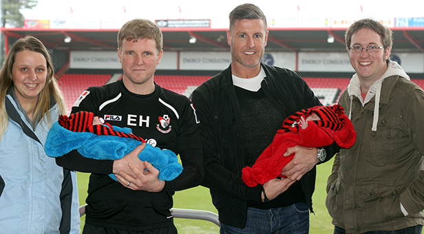 Claire Humphrey, AFC Bournemouth Manager, Eddie Howe; Cherries legend Steve Fletcher and Ross Humphrey pitchside with twins Ivy and Molly