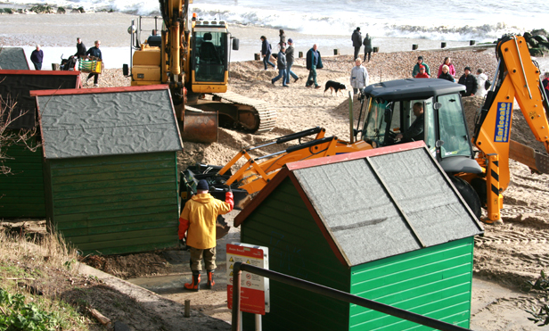Christchurch's coastal engineering team starting the recovery work at Avon Beach.