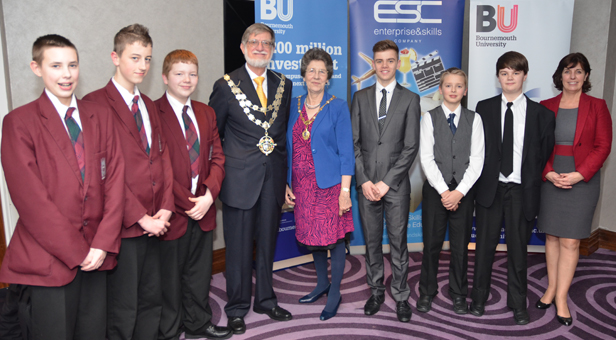 The Worshipful Mayor and Mayoress of Bournemouth, Cllr Dr Rodney Cooper and Mrs Elaine Cooper with the young Optimum team, Gregg Turner, Tom Wilcox, Luke Calkin and MD Edward Hatfield (4th from right), Luke Bell, Charles Warr, Caroline Kurtulan (far right)
