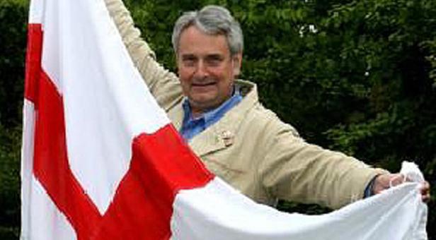 Robin Tilbrook with Flag of St George