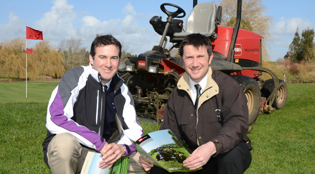 (From left) Stuart Hudson with Course Manager Brian Green and new equipment brochures.