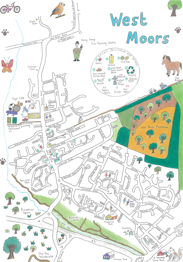 West Moors Map by Julia Brown Copyright WMPC