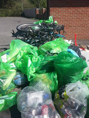 Rubbish collected from litterpick