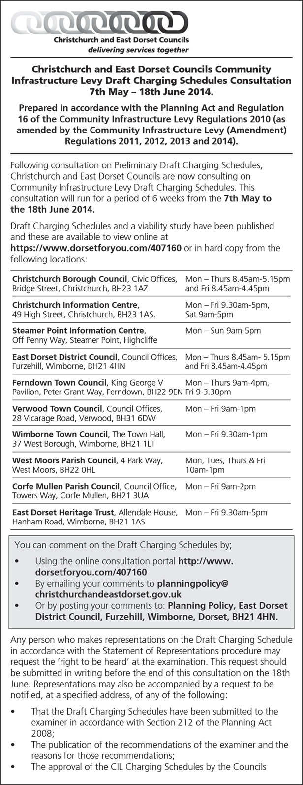 Christchurch and East Dorset Councils public notice