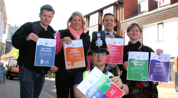 From left, Michael Carhart-Harris from the Dorset Waste Partnership, Cllr Margaret Phipps Portfolio Holder for the Environment at Christchurch Council, PC Glenn Stokes from Christchurch Police, Stephen Bowden President of Christchurch Chamber of Trade & Commerce and Julia Howlett Community Team Leader at Christchurch Council.