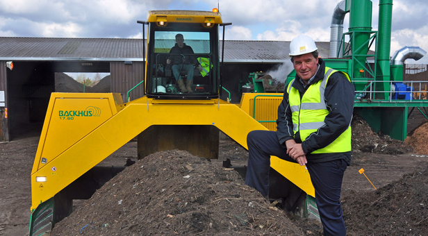 ODOUR EATER: MD Trelawney Dampney with a new £250,000 compost turner