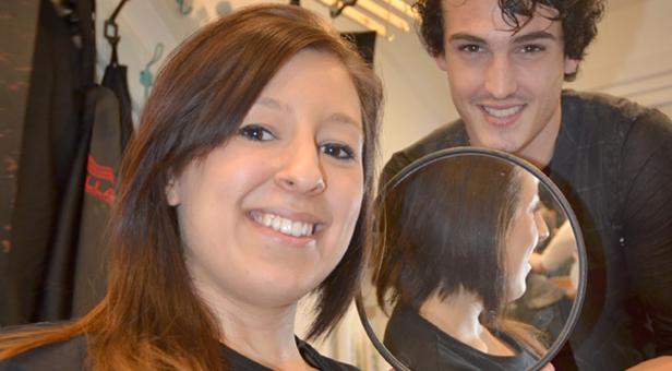 Half cut! Jenni Chohra with stylist Calum Morrell.