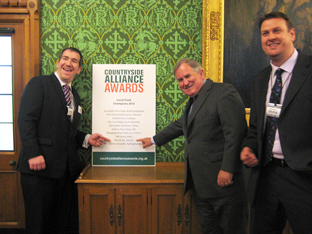 Dike & Son Ltd Superstore Company Director Adam Vincent, Bob Walter MP, Managing Director Andy Dike at the Countryside Alliance Awards Ceremony