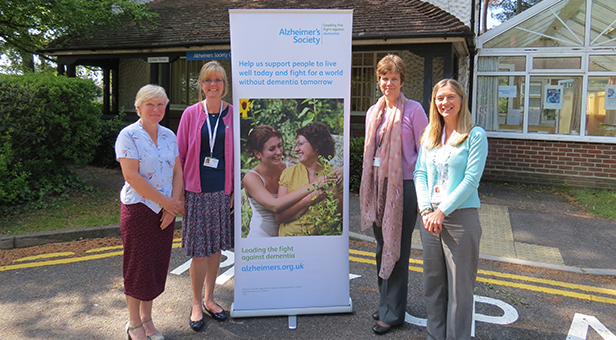 Members of the Alzheimer's Society Dorset team outside their office in Poole – from left Yvonne Rogers, Debbie Horlock, Alison Adams and Jo Malyon