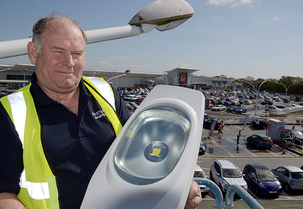 Gareth with new LED car park light