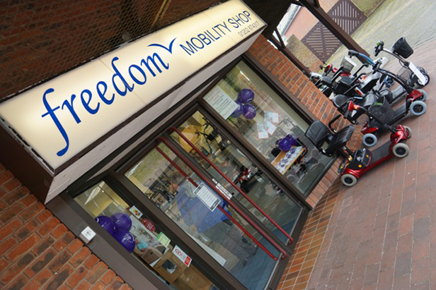 Freedom Mobility purple balloon frontage