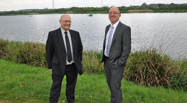 Green solution: Tony Primmer, SBW's Production Manager (left) and Tim Latcham, Head of Water Supply, at Longham Lakes