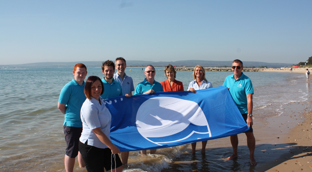 Poole's Beach Team with Cllr Xena Dion at Sandbanks Beach