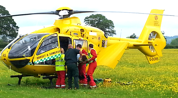 Carissa is put into the air ambulance