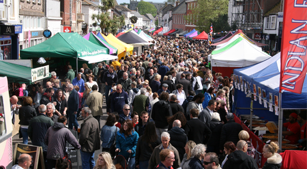 The busy Festival Market in the High Street