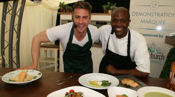 Matt Evers (left) from 'Dancing on Ice' and the Food Network with Des Burke from Flavours School of Cookery who did a Ready, Steady, Cook type of competition with the dishes they created