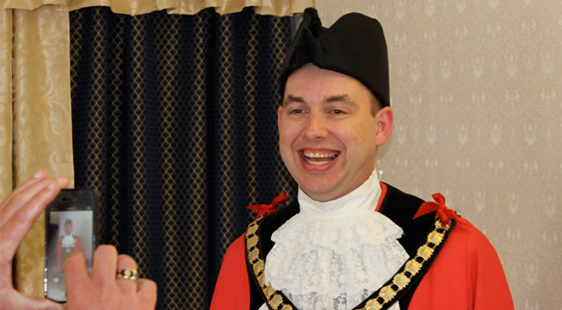 The new Mayor of Ferndown, Cllr Mike Parkes is photographed by the Deputy Mayor, Cllr Tony Brown for Facebook © CATCHBOX 2014
