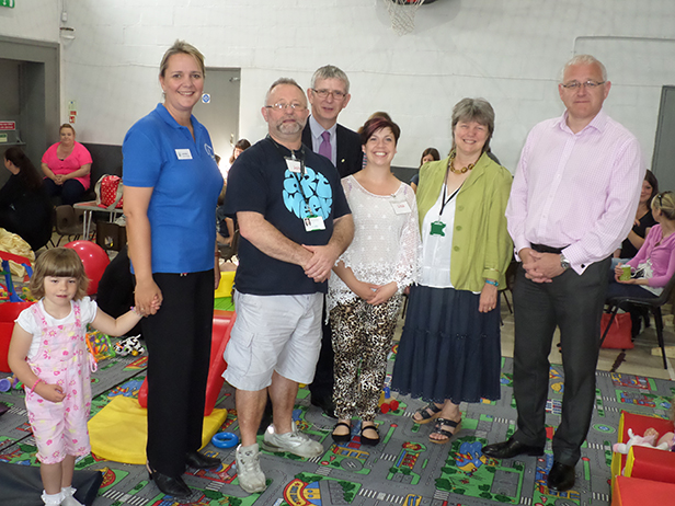 Lorraine Clark Hopscotch Pre-School, Centre Manager John Hanrahan, Neil Farmer, Lisa Guy Soft Play Leader, Judith Plumley and David Macintosh at the Soft Play Group in the Heatherlands Centre Ferndown