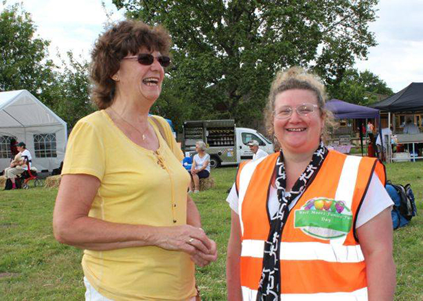 Chairman of the Committee Lou Dunne with Cllr Penny Yeo, West Moors Parish Council