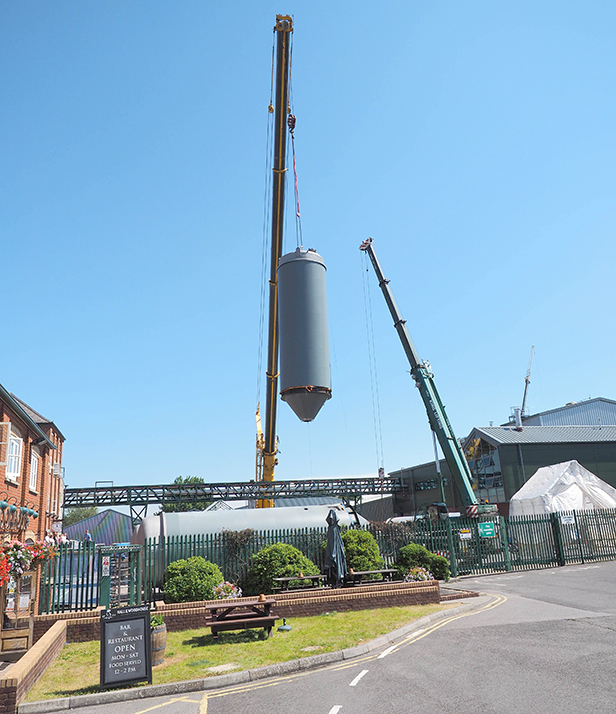 Vessels lifted into place
