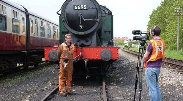 Billy Johnson being filmed by ITV's'Harbour Lives' © Simon Hanney