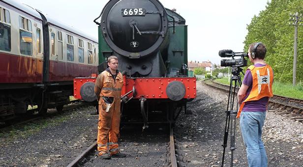 Billy Johnson being filmed by ITV's 'Harbour Lives' © Simon Hanney