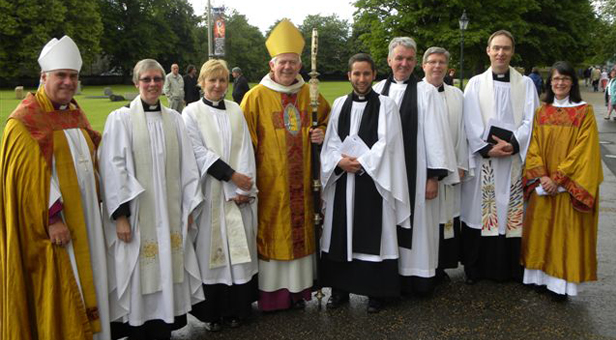 Salisbury Cathedral after the ordination from left: Bishop of Sherborne, Right Revd Dr Graham Kings; Revd Vanessa Herrick, rector of Wimborne Minster; Revd Belinda Marflitt, Wimborne Minster; Bishop of Salisbury, Right Revd Nicholas Holtam; Revd Ben Dyson, St John's;  Revd Peter Breckwoldt, vicar of St John's Wimborne; Revd Canon Chris Tebbutt, rector of Canford Magna and rural dean of Wimborne; Revd Stephen Partridge, Canford Magna and the Revd Sandra Tebbutt, Canford Magna who acted as deacon during the service of ordination