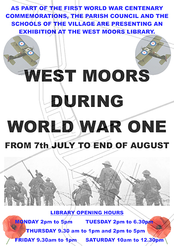 West Moors World War One advert poster