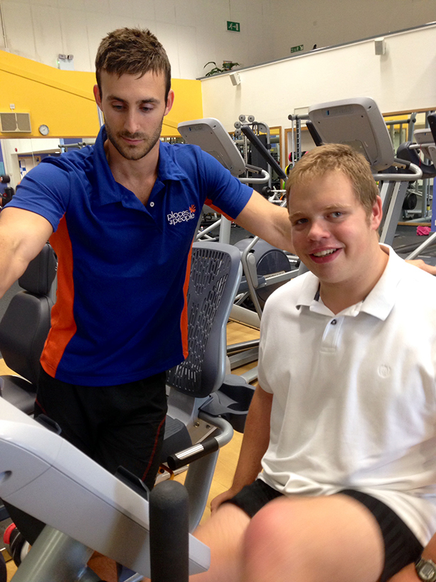 Fitness Manager Rob Lukins with Andrew Sill