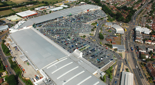 Aerial View of Castlepoint Shopping Park.