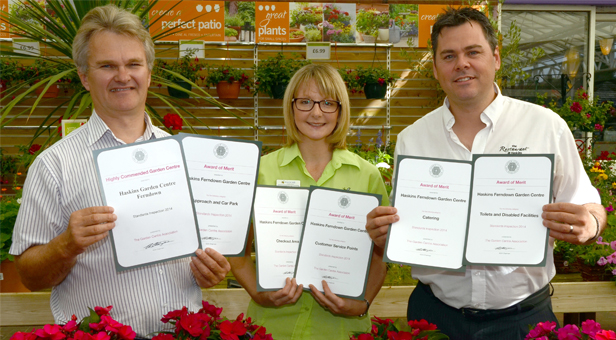 From left - Julian Winfield with Customer Services Manager Joolz Walford and Restaurant General Manager Kevin Ramsell with the GCA certificates.