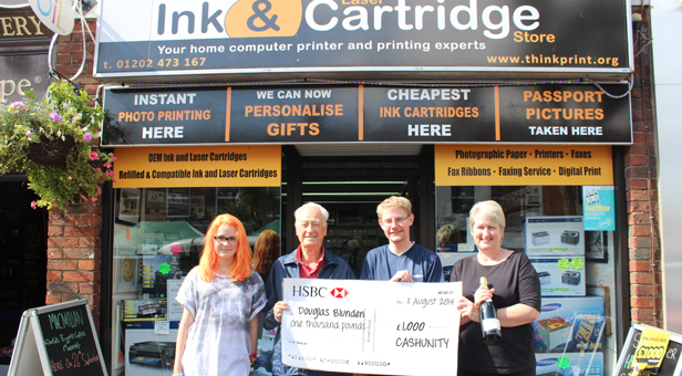 L-R Katie Dickens (Think Print), Douglas Blunden, Ben Pulford, (mags4dorset), Jayne Miles (Think Print)