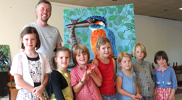 The kingfisher produced by artist Darrell Wakelam and children at the Allendale Centre