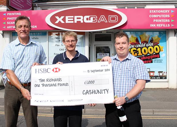 CashUnity cheque presentation to Tim Richards outside Xerocad in Ferndown