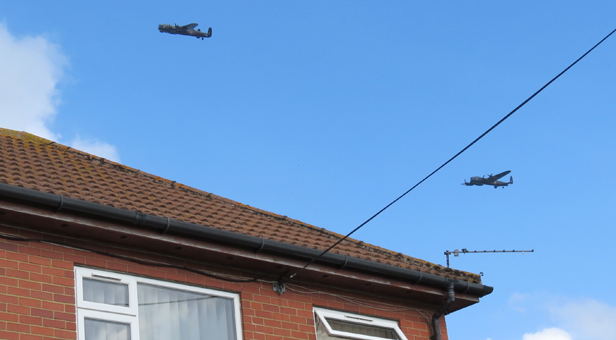 Lancaster Bombers fly over mags4dorset office