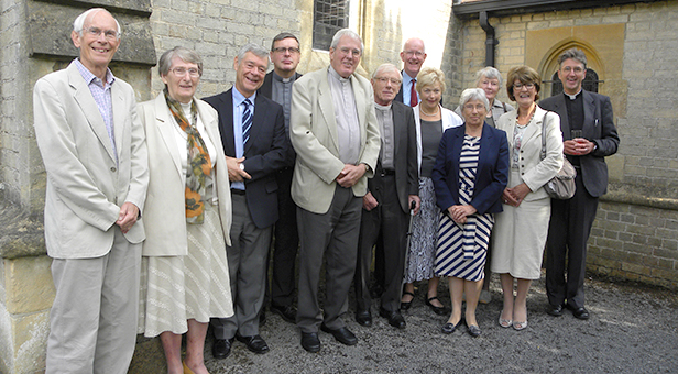 David Price in the centre surrounded by some of those who served as his churchwardens